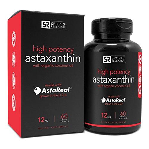 Astaxantina (12mg) con aceite de coco orgánico, 60 cápsulas vegetales