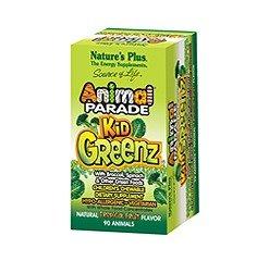 Desfile animal con brócoli, espinaca y otros alimentos verdes. S masticables suplemento dietético Kidgreenz naturaleza de los niños Plus 90 Tabs