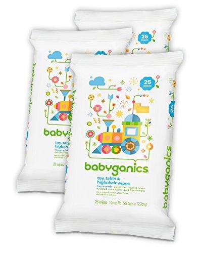 Babyganics juguete, mesa y silla de comer trapos, fragancias gratis, cuenta 25 (Pack de 3, 75 Total toallitas)