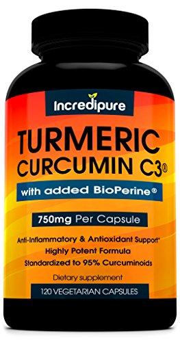 Cúrcuma curcumina C3 con BioPerine - 750mg por cápsula, 120 Caps de Veggie