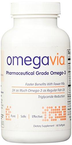 Pharma-grado de OmegaVia Omega-3, entérico inodoro Burp-libre. 1105 mg Omega 3 - Omega-3 más alto por píldora.