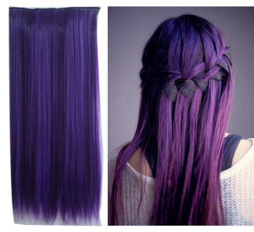 Uniwigs ® Ombre Dip-dye Color Clip en la extensión de cabello 60cm largo para las mujeres de moda (púrpura oscuro)
