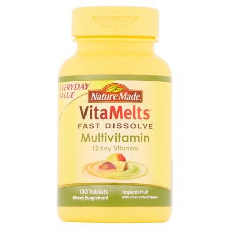 Nature Made tabletas de suplementos VitaMelts Tropical Fruit multivitaminas Dietéticos 130 ct