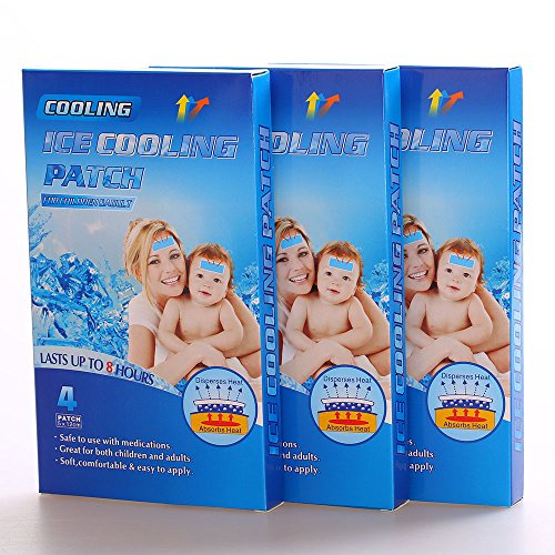 MQ cefalea cojines migraña niños fiebre, 12 Pads/3 caja de enfriamiento