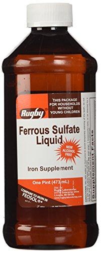 Suplementos de hierro de RUGBY laboratorios sulfato ferroso Elixir, 16 onzas de líquido