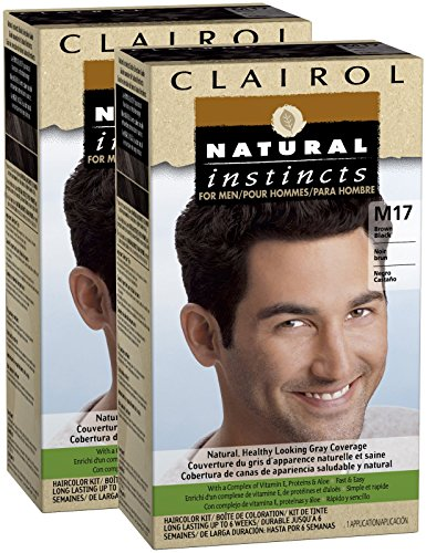 Instintos naturales de Clairol para hombres Color del pelo, negro marrón (M17), pk 2