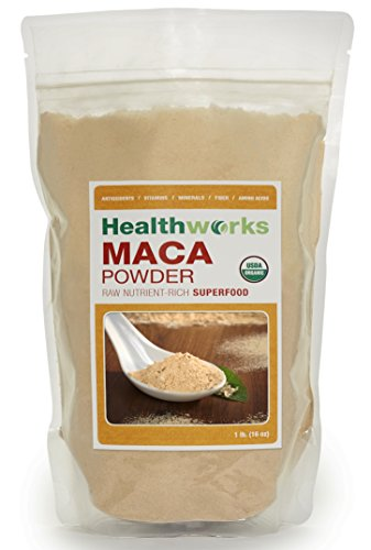 HealthWorks-Wild orgánica raíz de Maca peruana en polvo súper crudo Wildcrafted 1 Lb