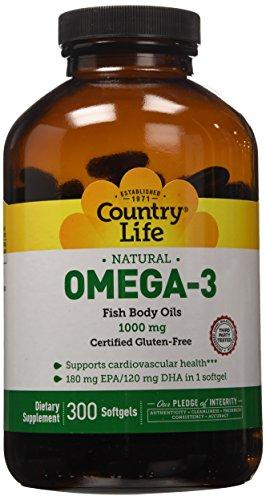 País la vida Omega 3 pescado cuerpo aceites 1000 mg, 300-Conde