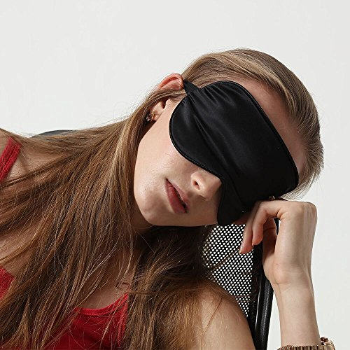 Dormir Purefly Natural seda ojo máscara para mujeres, hombres, niños súper suave con los ojos vendados para viajes, trabajo, meditación con tapones para los oídos en turnos