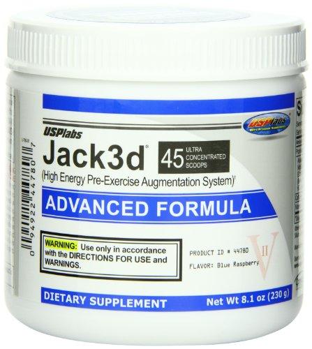 USP Labs Jack 3D avanzada fórmula suplementos nutricionales, frambuesa azul, onza 8,1