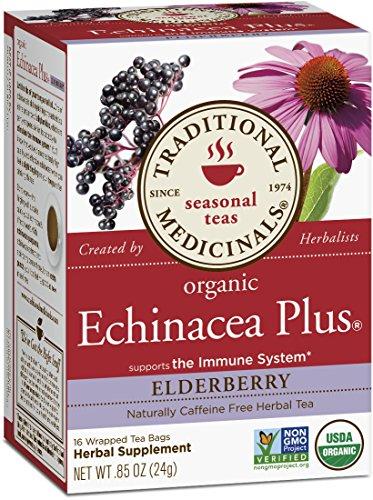 Medicinales tradicionales orgánicos equinácea más saúco té, 16 bolsas de té (paquete de 6)