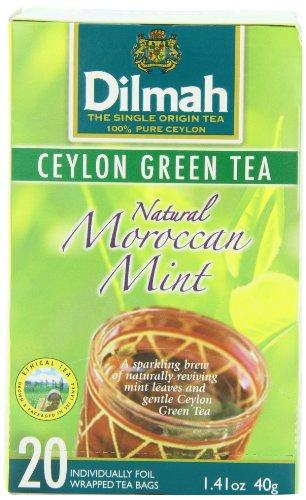 Dilmah té, té verde de Ceilán con Natural hoja de menta, 20-Conde marroquí envuelto las bolsitas de té (paquete de 6)