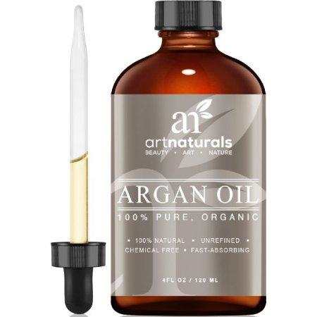 Artnaturals Aceite de argán orgánica para el pelo, la cara y la piel 4 oz - 100% puro de grado A Triple virgen extra fría exprimido de los granos del árbol de argán de Marruecos - La Lucha contra el envejecimiento, anti arrugas secreto de belleza