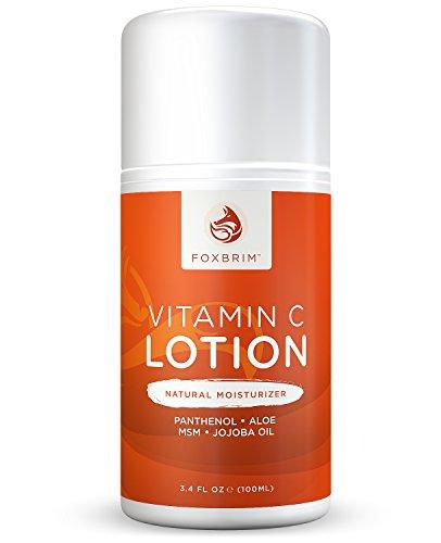 Vitamina C loción - facial Natural hidratante - poderosos antioxidantes vitamina C y té verde - hidratante aceite de Jojoba, manteca de karité - restauración de pantenol y MSM - Foxbrim 3.4OZ
