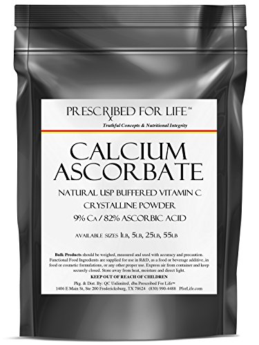 Ascorbato de calcio - USP Natural tamponada vitamina C polvo cristalino - Ca 9% / 82% ácido ascórbico, 1 lb