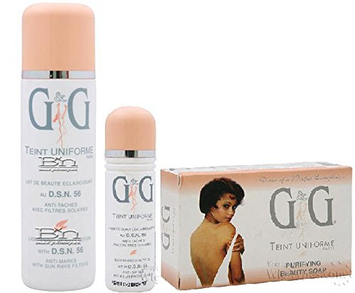 G & G Dynamiclair Teint Uniforme Triple Combo oferta (jabón de la belleza, loción corporal y aceite de belleza)