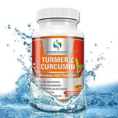 Cúrcuma curcumina por Supremo potencial® 200 cápsula tamaño 900mg por porción, con pimienta negra para máxima efectividad alivio del dolor conjunta! Más alta calidad, antiinflamatorio producto herbario.