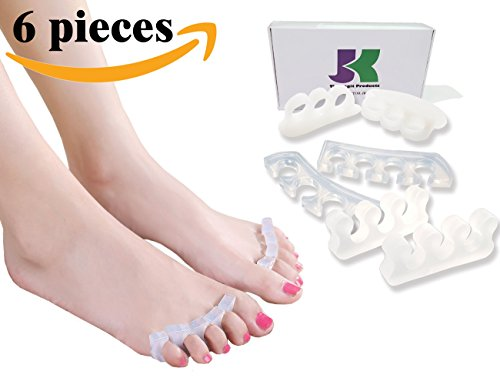 Separadores de DR JK-comprensiva del dedo del pie, Kit de separadores del dedo del pie! Separadores del dedo del pie para bailarines, yoguis y deportistas. Tratamiento para el martillo del dedo del pie, ayuda de juanete, pie dolor alivio, Fascitis Plantar