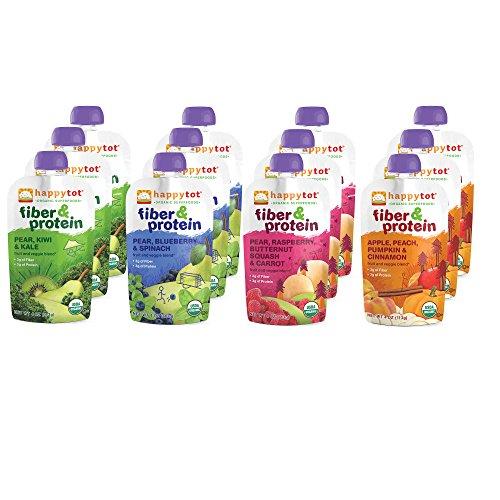 Súper alimentos orgánicos Tot feliz fibra y proteína etapa 4 paquete de variedad de comida bebé, 4 sabores (Pack de 12)
