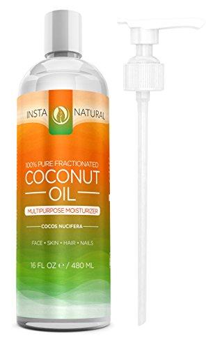 InstaNatural fraccionado aceite de coco - 100% puro - líquido crema hidratante para la piel, cara, cuerpo y uñas - acondicionador para cabello seco y dañado - masaje aceite, suavizante de la cutícula, Shave Gel, bálsamo para los labios - 16 OZ
