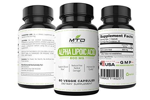 Ácido alfa lipoico - puro alfa lipoico natural antioxidante, 600mg, 60 cápsulas vegetales, ayuda a mantener el flujo de sangre saludable, ayuda a mantener saludables los niveles de azúcar, ayuda a proteger las células del daño oxidativo, envejecimiento, m