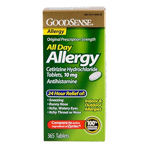 GoodSense todo día alergia, cetirizina HCL tabletas, 10 mg, cuenta 365