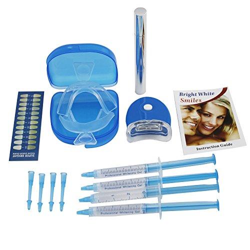 Casa dientes profesionales que blanquean el Kit lleno con 4 jeringa XL con luz, bandejas de polilla, que blanquean la pluma y 2 boca bandejas incluidas + gratis guia