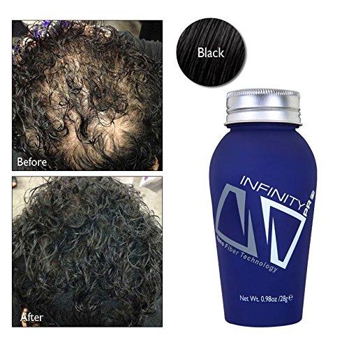 Pérdida del cabello Infinity ocultando las fibras para las mujeres y hombres, negro 28g