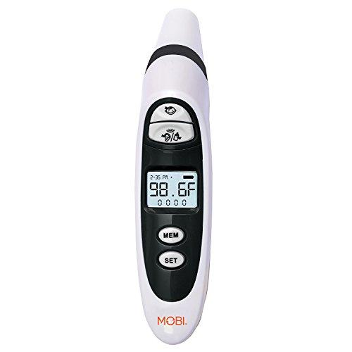 MOBI DualScan primer oído y termómetro de frente con la comida y la botella lecturas