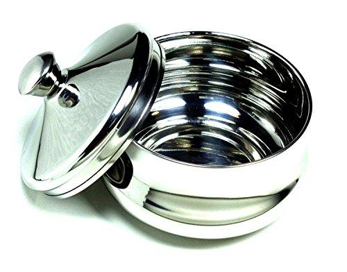 Schöne tazón de afeitar de acero inoxidable con tapa - satisfacción Guarnteed diseñada en Austria