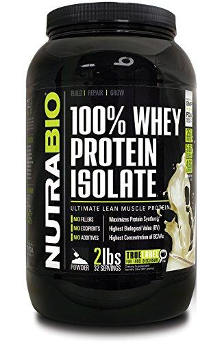 NutraBio 100% proteína de suero aislar - 2 libras Unflavored - sin soja, sin suero de leche concentrado, NO aminoácidos Spiking sólo 100% puro de WPI.