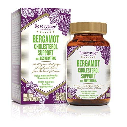 Reserveage nutricion - colesterol de bergamota ayuda con Resveratrol, una fórmula saludable para el corazón, 30 cápsulas