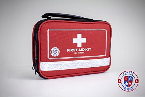 Kit de primeros auxilios para la supervivencia y emergencias menores (100 piezas) luz, compacto y amplio - ideal para casa, Auto, viajes por carretera, actividades al aire libre Camping, o cualquier otra