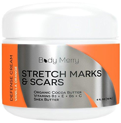 Estrías y cicatriz crema - vainilla naranja - mejor crema hidratante del cuerpo para prevenir y reducir la edad y las cicatrices y marcas - Natural y orgánico para el embarazo-también para los hombres-4 oz - cuerpo feliz