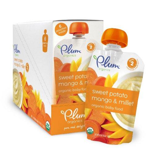 Plum Organics Baby segunda combina fruta y grano, patata dulce, Mango y mijo, 3,5 onzas (Pack de 12)
