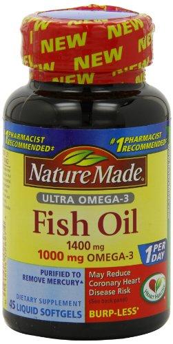 Aceite de pescado de Omega-3 Ultra naturaleza cápsulas, 1400 Mg, cuenta 45