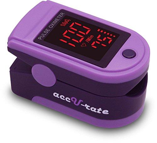 CMS 500DL saturación de oxígeno de sangre de generación 2 dedo Pulso Oxímetro Monitor con cubierta de silicona, baterías y cuerda (púrpura real)
