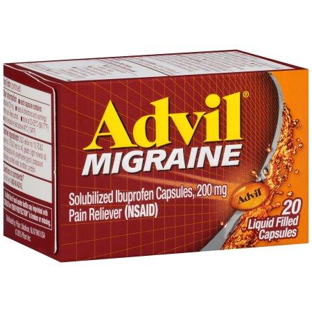 Advil solubilizada Ibuprofen cápsulas 200 mg Analgésico (AINE) Advil Migraña 20 ct