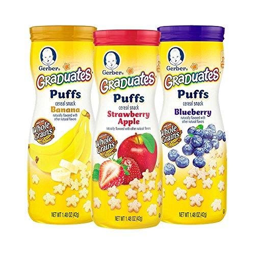 Gerber graduados soplos cereales Snacks variedad Pack, 1,48 onzas (paquete de 6)