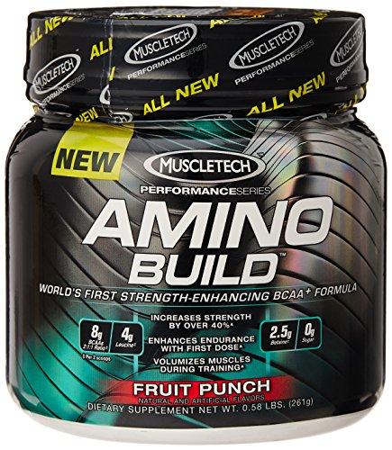 Muscletech Amino construir, Fruit Punch, sirviendo, suplemento de aminoácidos de cadena ramificada (BCAA) con betaina 30 0,58 libras.