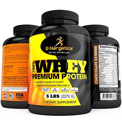 B-Nergetics 100% Whey Protein de Premium, Chocolate extremo, 5lbs, 5g 4g glutamina, Bcaa y ácido glutámico por porción, promueve la recuperación y muscular magra