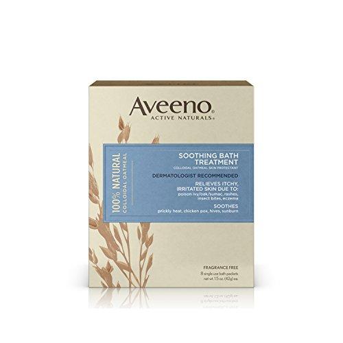 Tratamiento de baño de Aveeno calmante, cuenta 8, peso neto 1.5oz.
