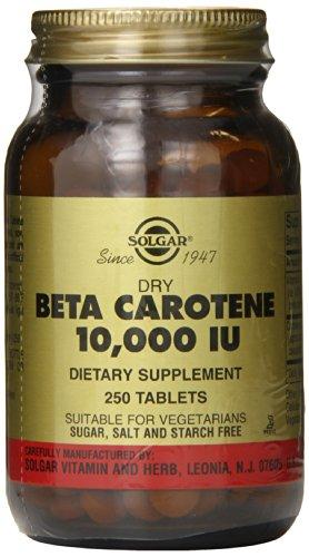 Seco de Solgar Beta caroteno 10,000 UI tabletas, 250 cuenta