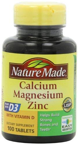 Naturaleza hecha de calcio, magnesio y Zinc con vitamina D, con D-3 100 comprimidos (paquete de 3)
