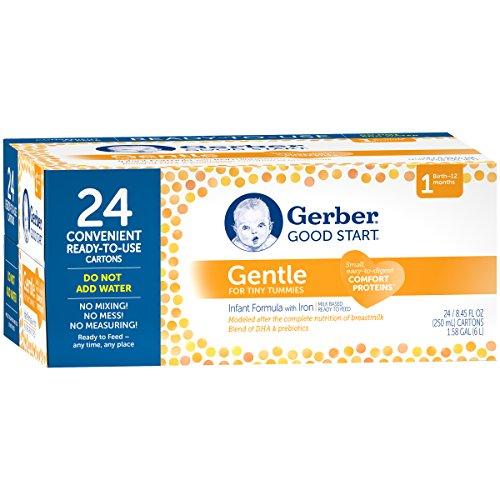Gerber buen inicio suave listo para alimentar la fórmula infantil, 8,45 onzas, 24 cuenta (el embalaje puede variar)