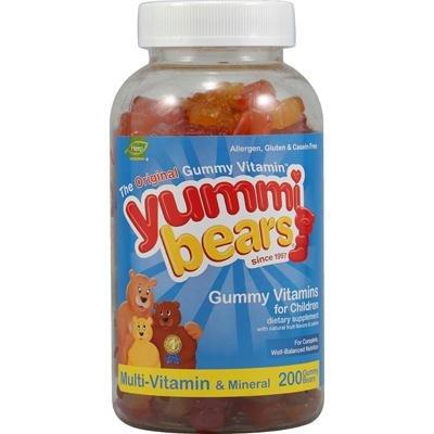 Yummi osos multivitaminas y minerales gomitas - sabor de la fruta - 200 ct