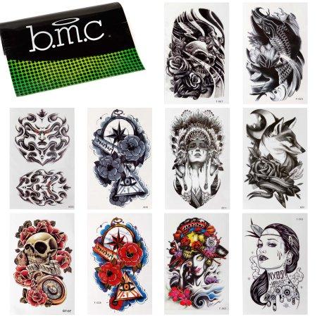 BMC 10pc elegante grande Declaración de la transferencia del agua tatuajes temporales de la manera fijadas -