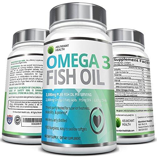Aceite de pescado omega 3 pastillas - cuenta 180 - 3.000 mg por porción - 915mg EPA 630mg DHA por porción - rico en ácidos grasos esenciales - molecularmente destilada para alta potencia - hecho en un E.e.u.u. base FDA certificada laboratorio de Nongmo -