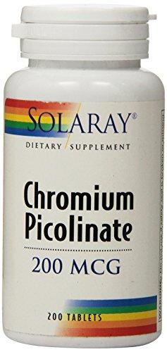 Solaray comprimidos picolinato de cromo, 200 mcg, cuenta 200