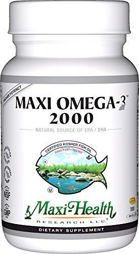 "Ácidos grasos de Omega-3 Maxi salud ""2000"" - aceite de pescado, cápsulas de 100 gel, Kosher"